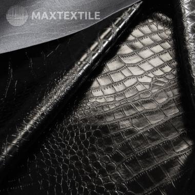 Экокожа лаковая крокодил черная 192-1-55-1