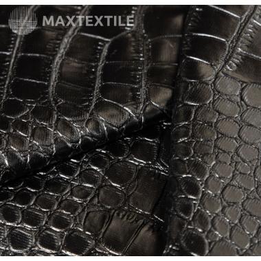 Экокожа крокодил текстурированная черная 192-1-55-2