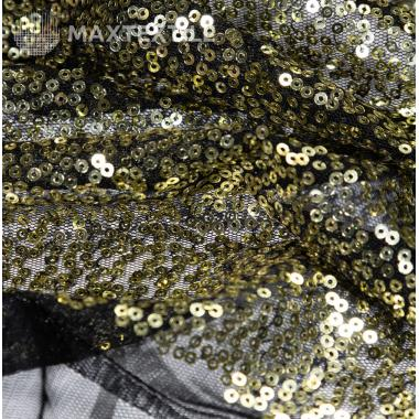 Пайетки на сетке золотые 192-1-96-3