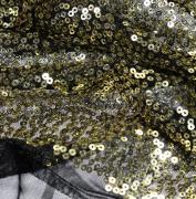 Пайетки на сетке золотые