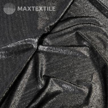 Эластичное полотно с лазерным фальгированием серебряное 192-1-20-2
