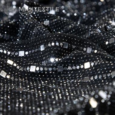 Эластичное черное полотно с люрексом и серебряными пайетками 192-1-21-1