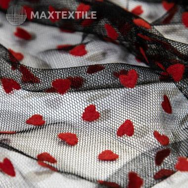 Фатин черный красные сердечки  14-1-40-15