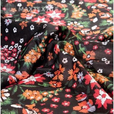Батист с цветочным принтом черный 191-3-136-2