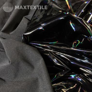 Экокожа лаковая би-эластичная черная (голограмма) 201-1-57-1